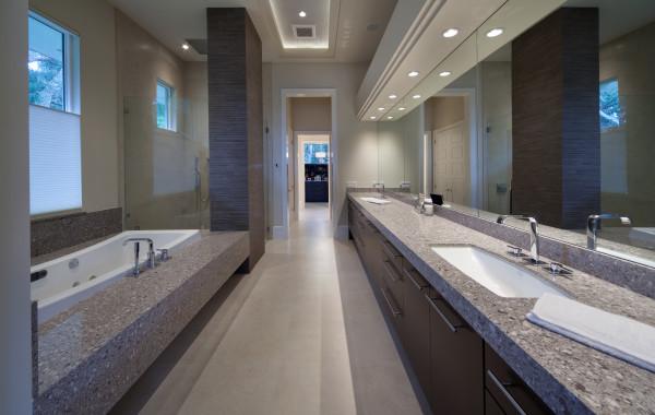 Silestone Alpina White Master Bath and Tub Deck