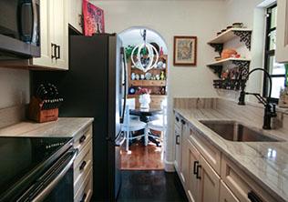 White Macabus Galley Kitchen