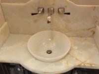 White Onyx Drop In Vessel Sink